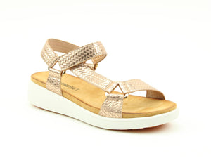 Heavenly Delta Rose Gold Weave Ladies Casual Comfort Sandals