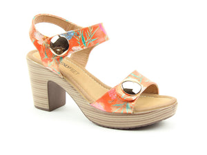Heavenly Feet Sadie2 Orange Floral Womens Stylish Dressy Heeled Sandals