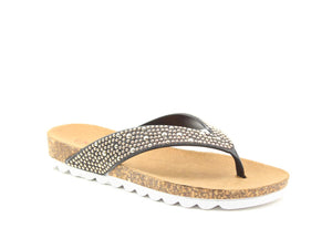 Heavenly Feet Sparkle Black Womens Casual Comfort Toe Post Diamante Sandals