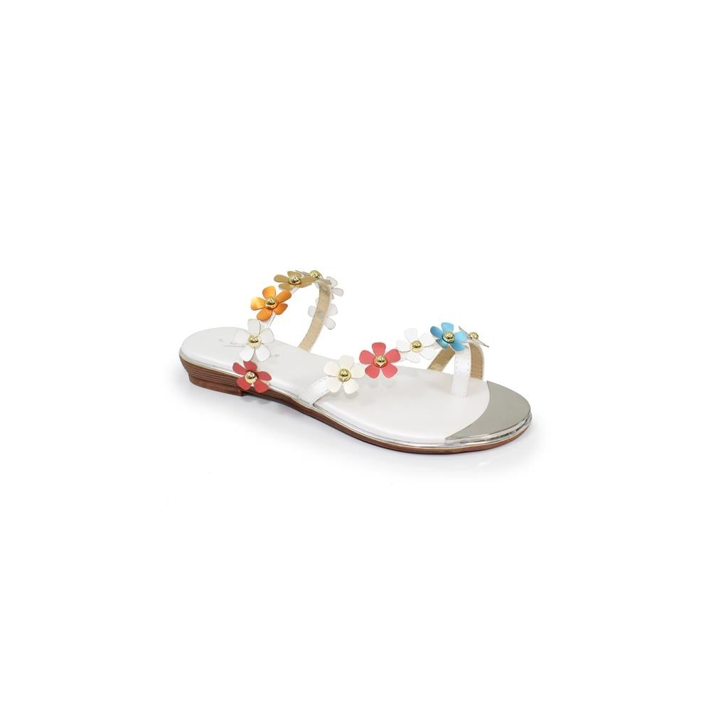 Lunar JLH 089 Tassia White Women's Multicoloured Flowers Slip On Sandals