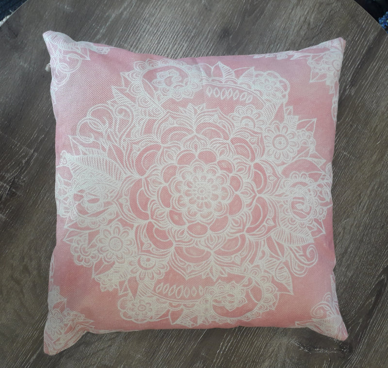 mandala pink cushion