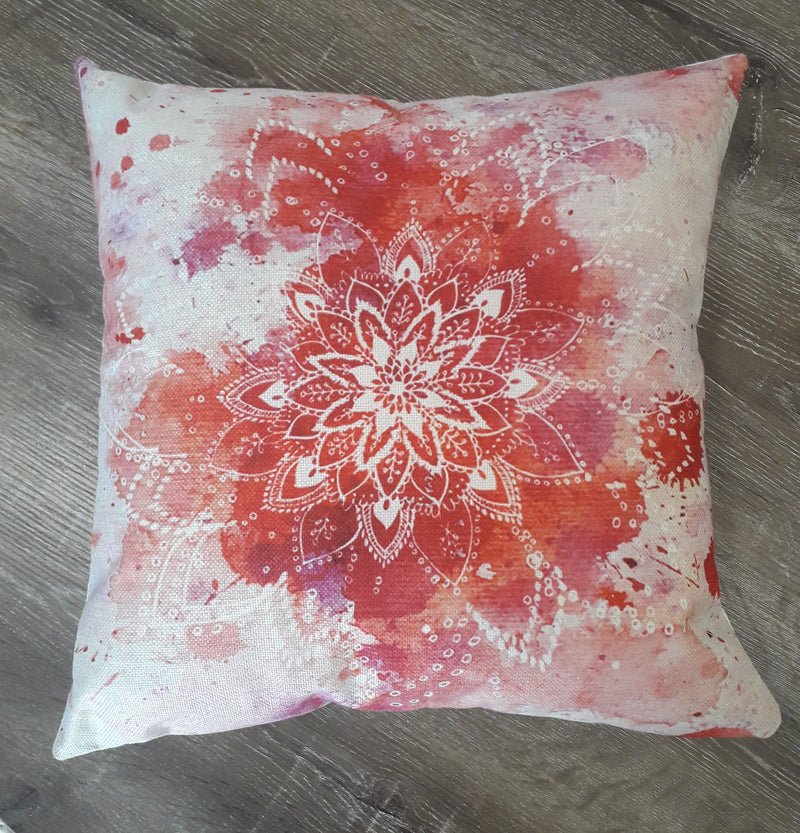watercolour mandala cushion