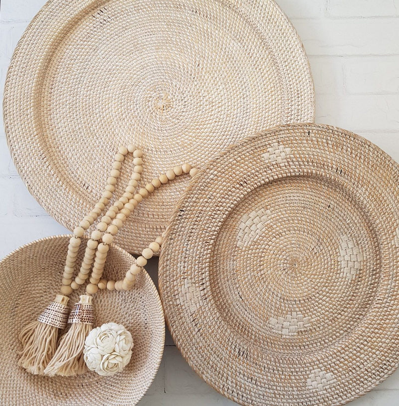 Natural white washed Rattan tray 60cm