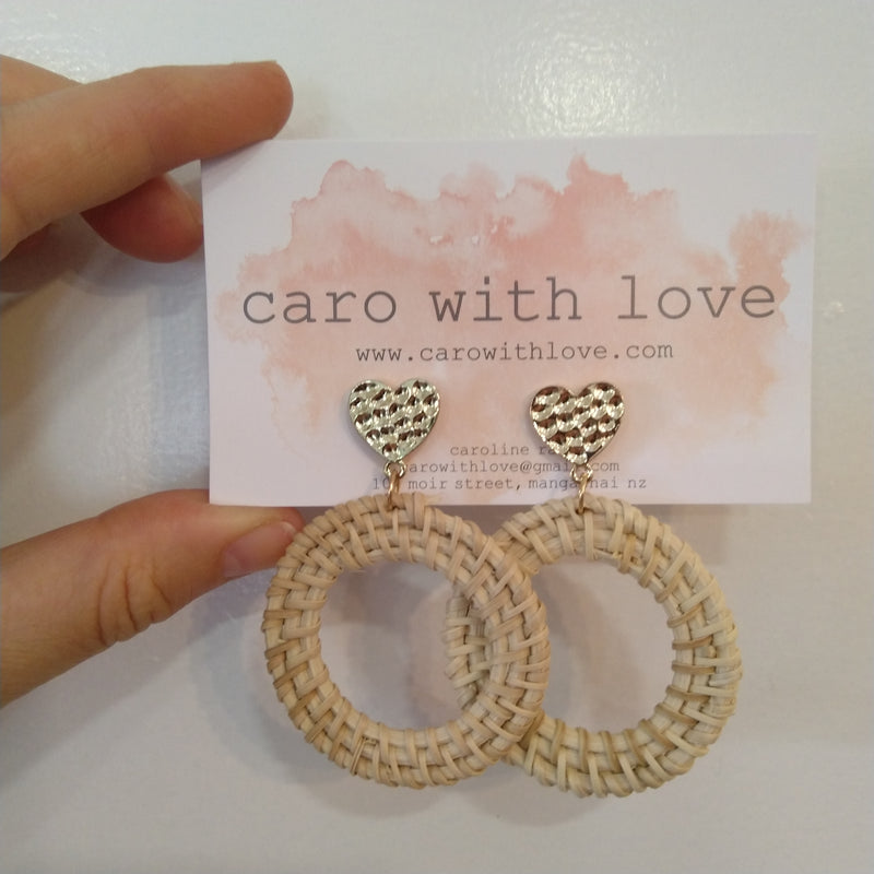 Woven gold heart earrings