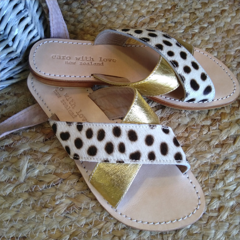 Cowhide & Gold leather handmade sandals