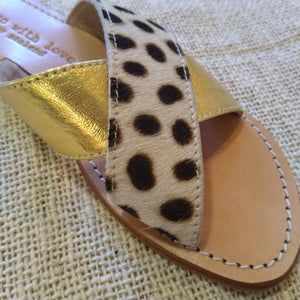 Cowhide & Gold leather sandals