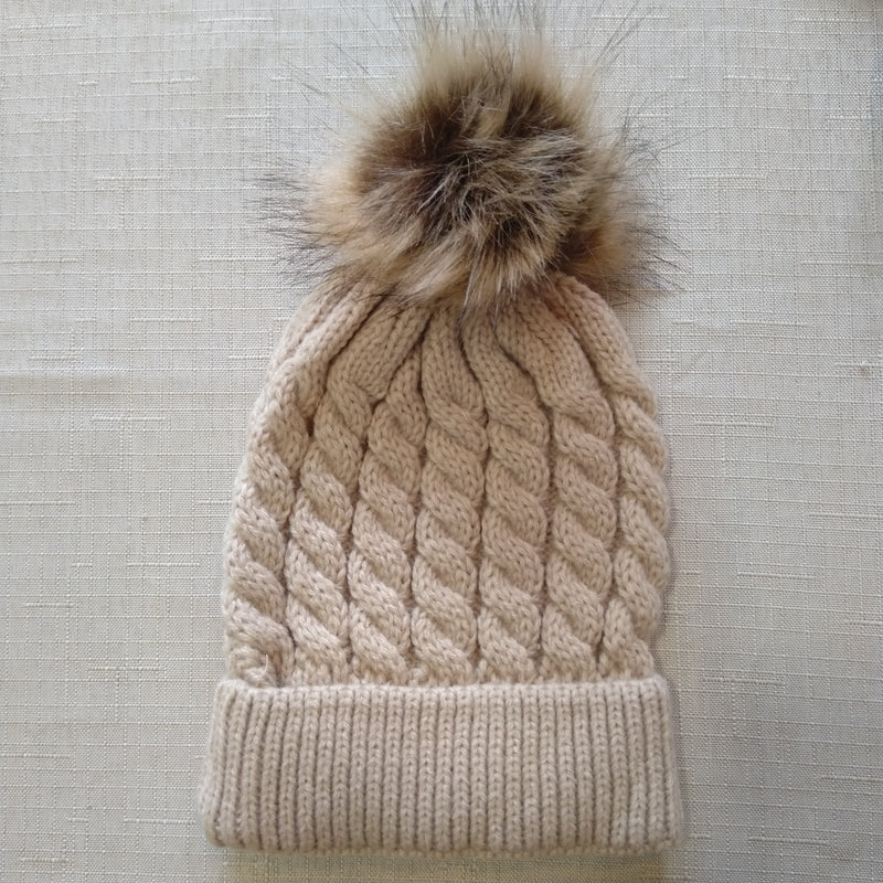knitted pompom beanie -coming soon!