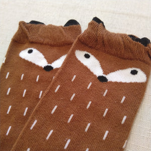 foxy knee high socks - fox brown