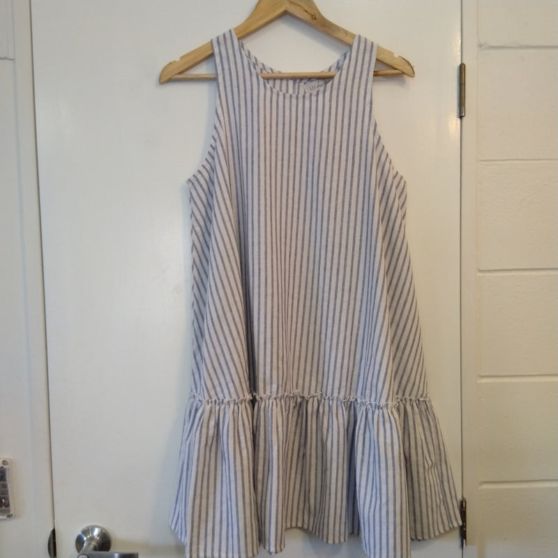 LJC Designs Annie dress- colour Blue+White stripe