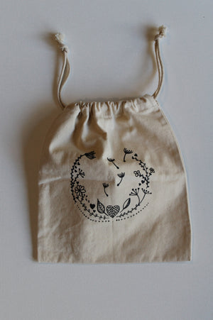 caro with love - 'blooming love' draw string calico bag