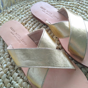 Gold leather handmade sandals