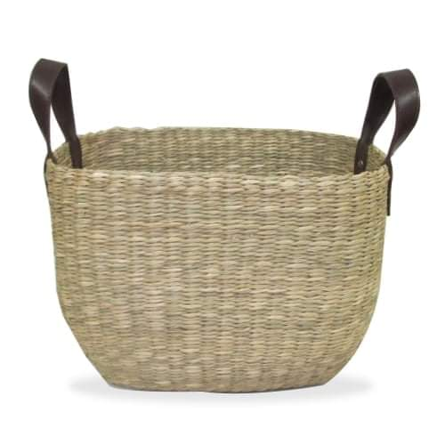 Woven rectangle basket - Brown handles