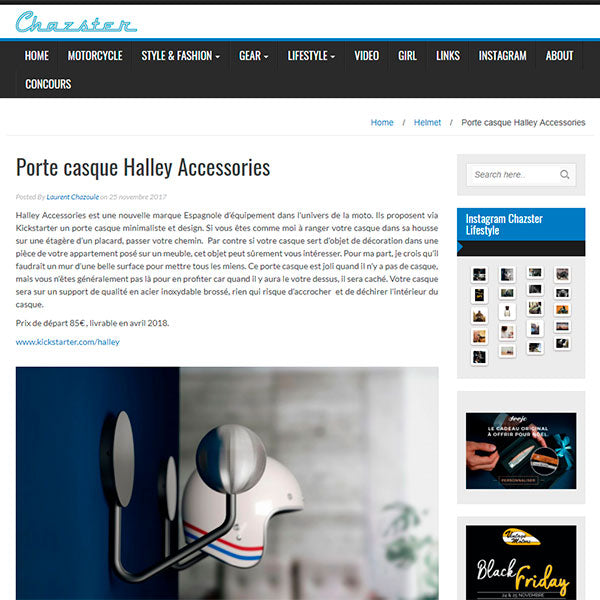chazster halley accessories helmet rack