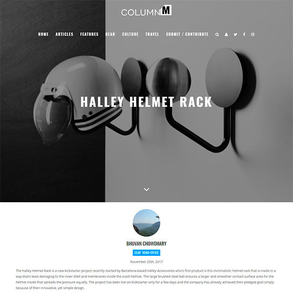 columnm halley accessories helmet rack