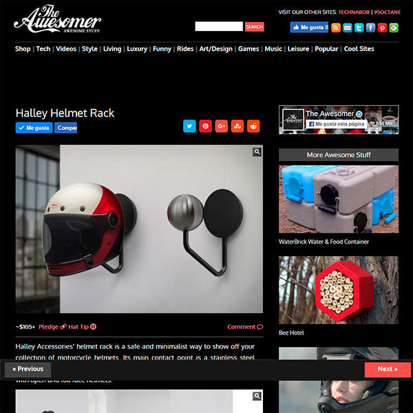 theawesomer halley accessories helmet rack