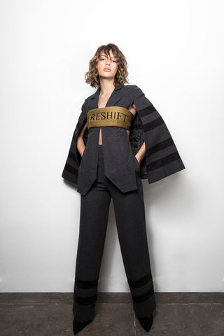 Trousers w Suspenders, Zipper Top, Cape Jacket