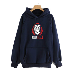 Men's Regular Fit Money Heist Printed Cotton Hoodie