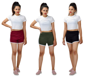 Womens or Girls Cotton Shorts (Pack Of 3 - Combo )