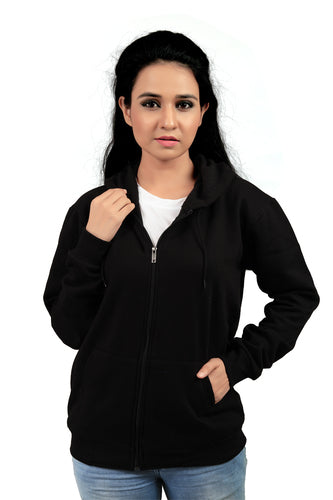 Women Zip Closer Plain Cotton Hoodies