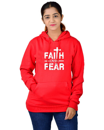 Women,s Regular Fit FOF Printed Cotton Hoodie