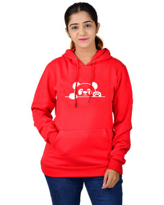 women,s Regular Fit Panda Printed Cotton Hoodie