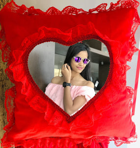 Personalized Cushions Heart Shape online in Gujarat, IndiaRed Heart Cushion By T shirt factory india