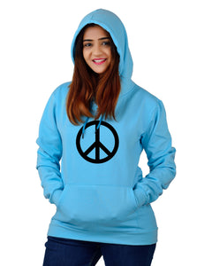 Women,s Regular Fit Peace Printed Cotton Hoodie