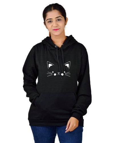 Women,s Regular Fit Cat Printed Cotton Hoodie