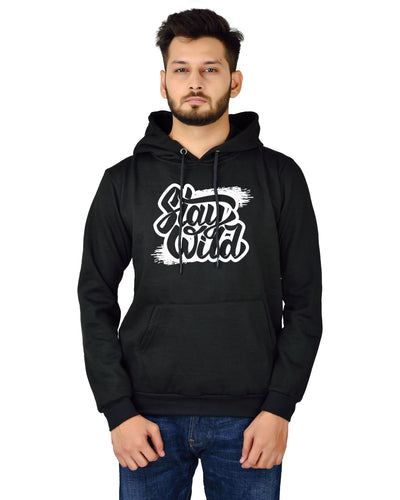Unisex Regular Fit Stay Wild Printed Cotton Hoodie