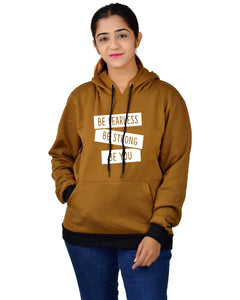 Women,s Regular Fit BSBY Printed Cotton Hoodie