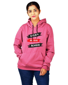 Women,s Regular Fit Color DBA Printed Cotton Hoodie