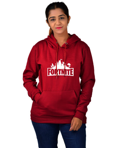 Women,s Regular Fit Fortnite Printed Cotton Hoodie