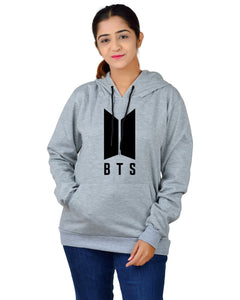 Women,s Regular Fit BTS Printed Cotton Hoodie