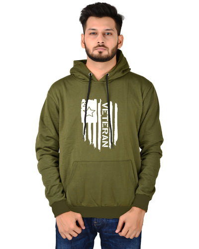 Men's Regular Fit VeteranPrinted Cotton Hoodie