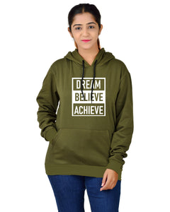 Women,s Regular Fit Dream Believe Achieve Printed Cotton Hoodie
