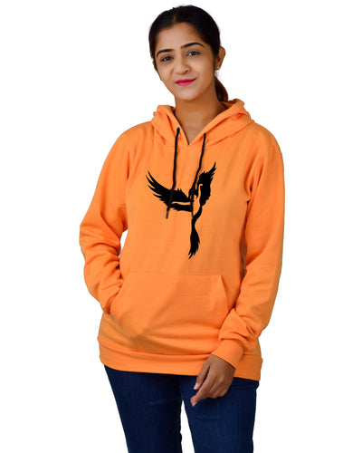 Women,s Regular Fit Dancing Girl Printed Cotton Hoodie