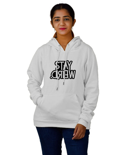 Women,s Regular Fit Stay Weired Printed Cotton Hoodie