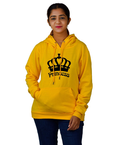 Women,s Regular Fit Princess Printed Cotton Hoodie