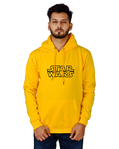 Men's Regular Fit Star War Printed Cotton Hoodie