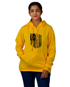 Women,s Regular Fit Vetran Printed Cotton Hoodie