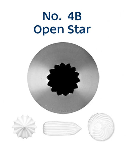 Piping Tip Stainless Steel Open Star Medium No. 4B