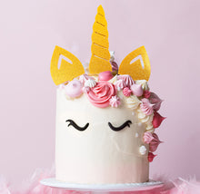 Load image into Gallery viewer, Cake Topper - Unicorn Horn & Ears Set Gold Glitter Acrylic