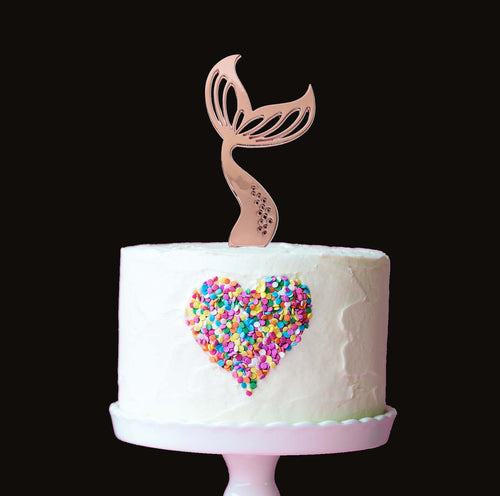 Cake Topper - Mermaid Tail Rose Gold Plated
