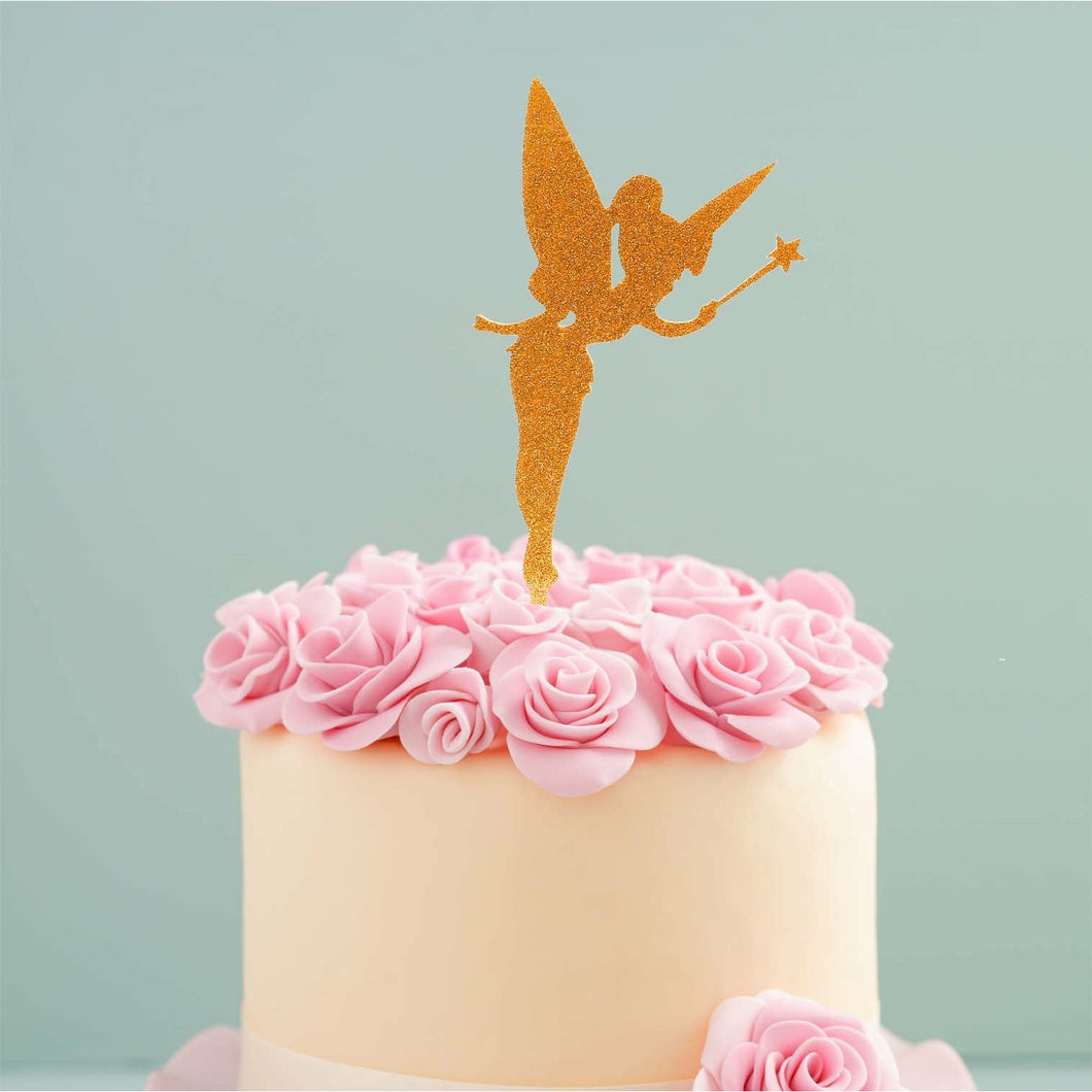 Cake Topper - Fairy Gold Glitter Acrylic