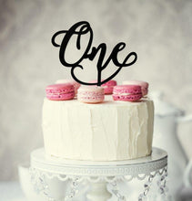 "Load image into Gallery viewer, Cake Topper - ""One"" Black Acrylic"