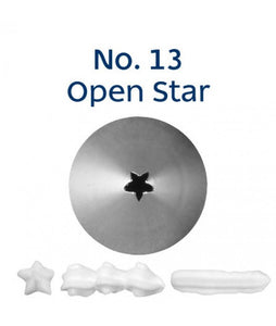Piping Tip Stainless Steel Open Star Standard No. 13