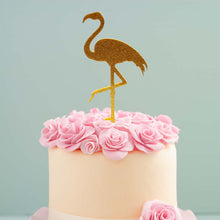 Load image into Gallery viewer, Cake Topper - Flamingo Gold Glitter Acrylic