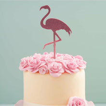 Load image into Gallery viewer, Cake Topper - Flamingo Pink Glitter Acrylic