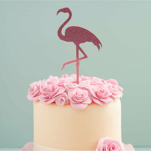 Cake Topper - Flamingo Pink Glitter Acrylic