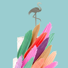 Load image into Gallery viewer, Cake Topper - Flamingo Silver Mirror
